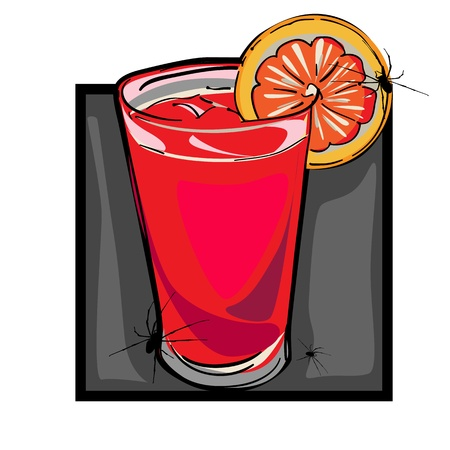 repulsive: Hand drawn clip art illustration of a bloody mary drink with spiders for Halloween party