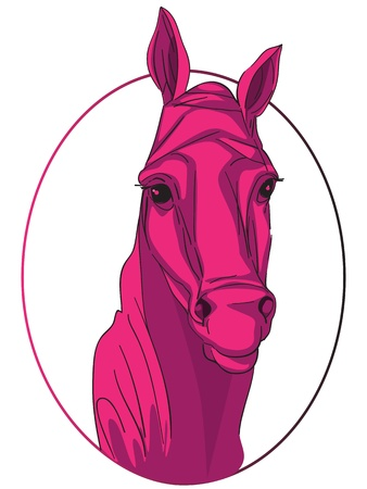 Hand drawn clipart illustration of a pink horse icon isolated on white