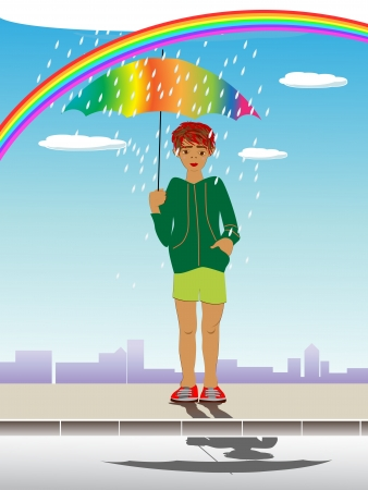 gumboots: Artistic illustration of a red haired kid with umbrella under the rainbow