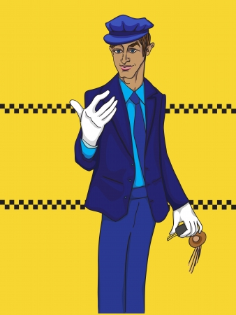 Hand drawn illustration of a limo driver with white gloves over a yellow background with taxi tiles Vector