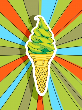 ice cream soft: Pop art graphic background with a hand drawn illustration of an ice cream, food conceptual graphic Illustration