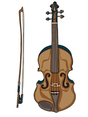 fiddle: Hand drawn illustration of a violin and a bow, doodles  isolated on white Illustration