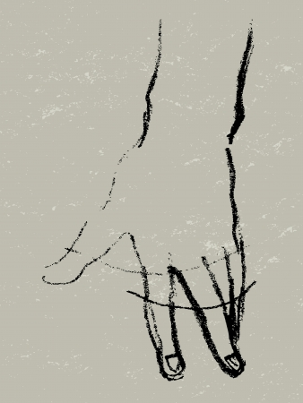 touch screen hand: Graphic illustration of a hand rotation, charcoal sketch on grungy paper