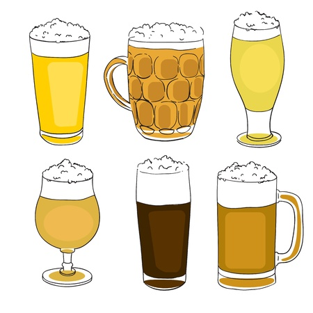 hand drawn illustration of a collection of six different beer pints,  set of doodles isolated on white Vector