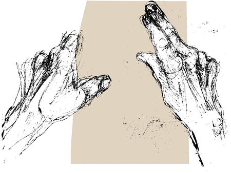 Black and white hand drawn sketch of the hands of an old man or woman holding a piece of paper and reading Vector