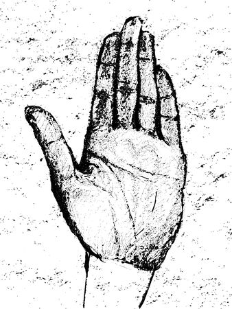 palmistry: Hand drawn illustration of a human palm over a grungy background Illustration