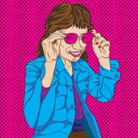 Hand drawn funny girl with pink glasses over a Pop Art background Vector