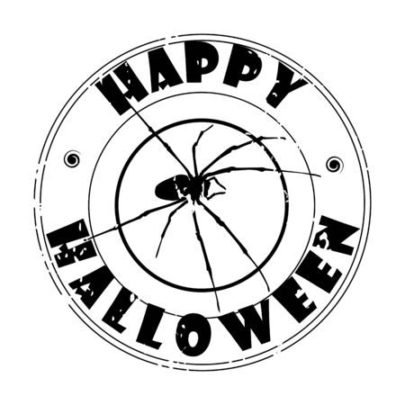 Halloween illustration with spider, autumn greetings stamp over white Vector