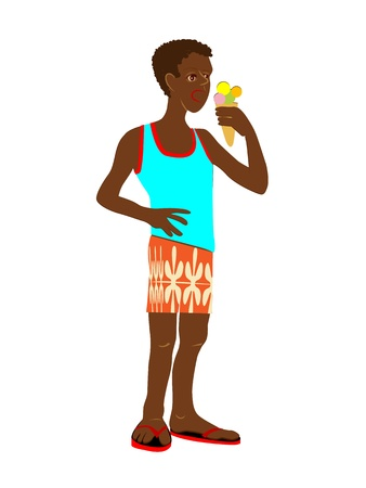 eating ice cream: Afro-american kid in summer clothing eating ice cream, cartoon isolated on white