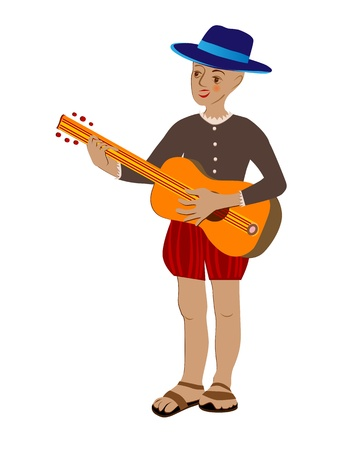 boy playing guitar: Hand drawn illustration of a hispanic boy playing guitar and singing, cartoon isolated on white Illustration