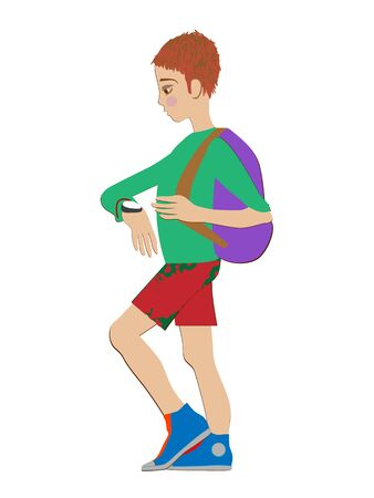 haired: Hand drawn illustration of a red haired schoolboy with watch and backpack, cartoon isolated on white
