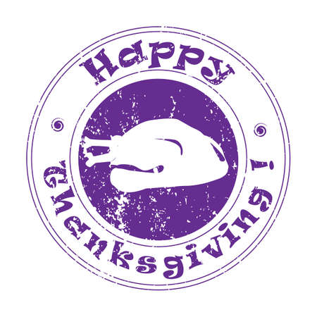 Thanksgiving illustration with turkey, autumn greetings stamp over white Vector