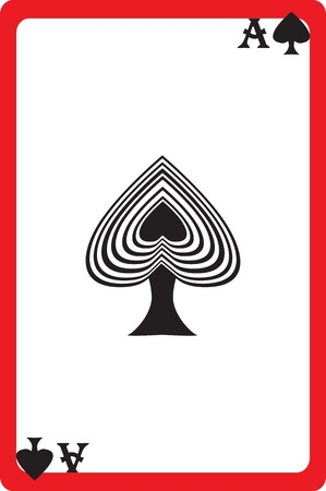 straight flush: Scale hand drawn illustration of a playing card representing the ace of spades, one element of a deck