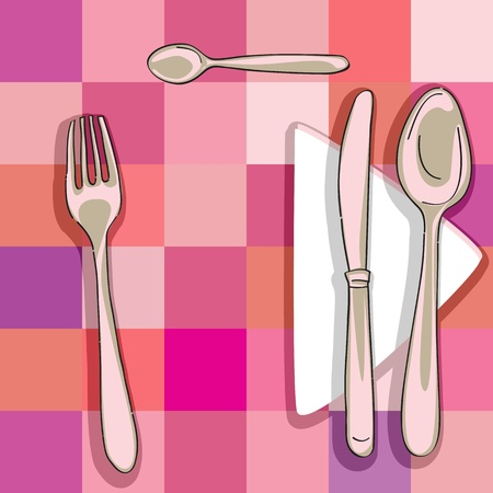 mealtime: hand drawn illustration of a cutlery series over a kitchen pattern with squares