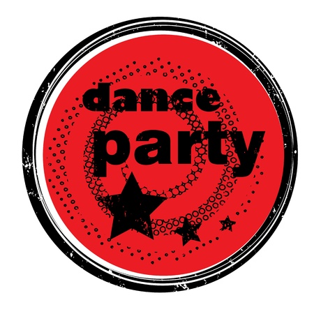 retro music stamp for a night club or bar, dance party seal with pop art design Illustration