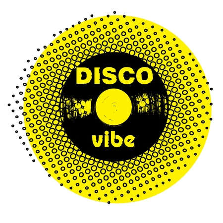 rubber band: retro party music stamp for a night club or bar, disco seal with pop art design Illustration