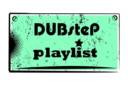 dubstep: retro party music stamp for a night club or bar, dub-step seal with pop art design