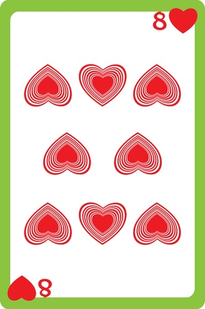 Scale hand drawn illustration of a playing card representing the eight of hearts, one element of a deck Stock Vector - 18233222