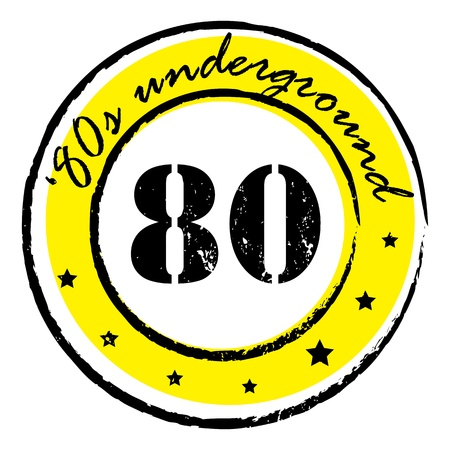 eighties: retro party music stamp for a night club or bar, eighties underground seal with pop design Illustration