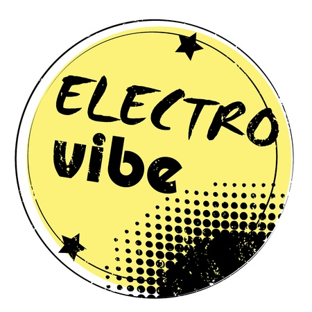 rubber band: retro party music stamp for a night club or bar, electro vibe seal with pop art design