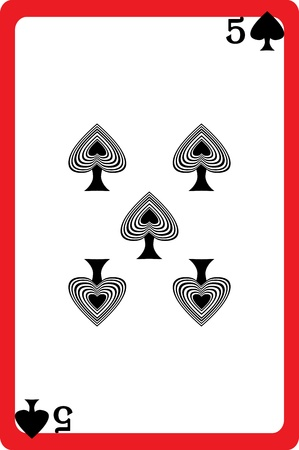 Scale hand drawn illustration of a playing card representing the five of spades, one element of a deck Stock Vector - 18233202