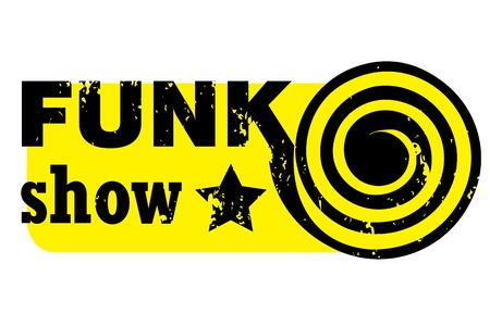 musik: retro party stamp for a night club or bar, funk show seal with pop art design