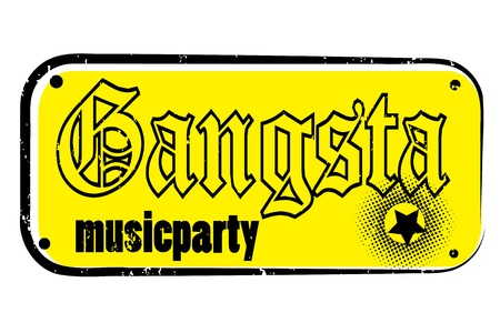gangsta: retro party music stamp for a night club or bar, gangsta seal with pop design