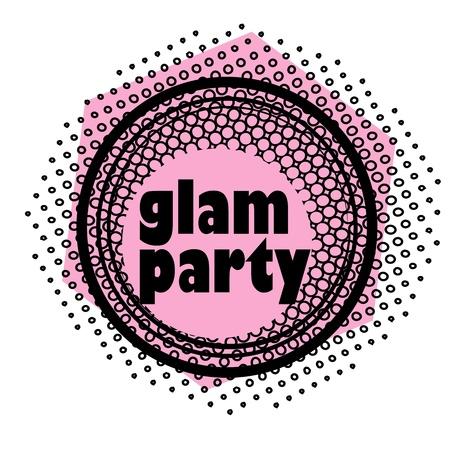 glam: fiesta retro sello de m�sica en un club nocturno o bar, sello glam con dise�o del arte pop Vectores