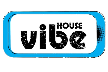 vibe: party music stamp for a night club or bar, house vibe seal with retro pop design