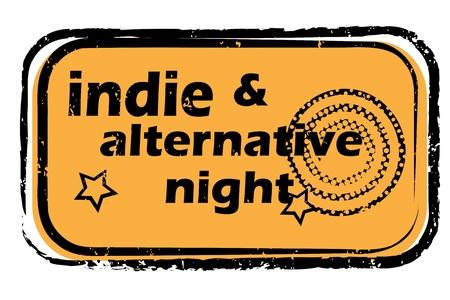 indie: fiesta retro sello de m�sica en un club nocturno o bar, indie y alternativa sello con dise�o del arte pop