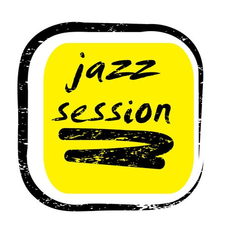 retro music stamp for a night club or bar, jazz session seal with pop art design Vector