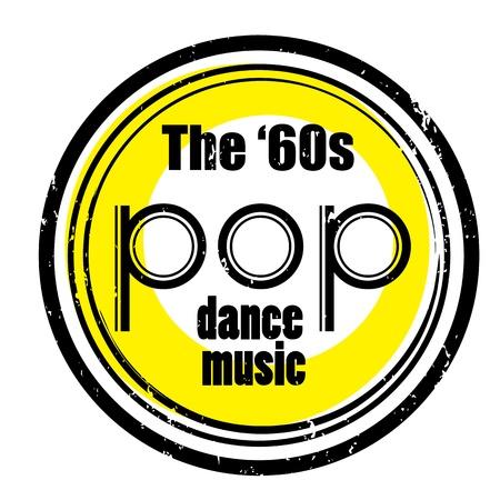 yıldız: Bir gece kulübü veya barda retro parti müzik damga, altmışlı pop art tasarımı ile mühür