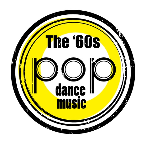 pop star: retro party music stamp for a night club or bar, the sixties seal with pop art design Illustration