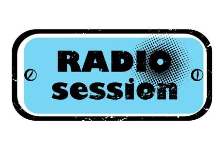 vj: retr� musica bollo per un night club o bar, sigillo sessione radio con disegno pop art