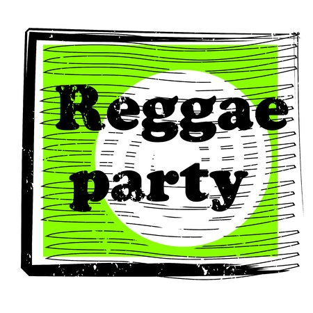 retro party music stamp for a night club or bar, reggae seal with pop art design Vector
