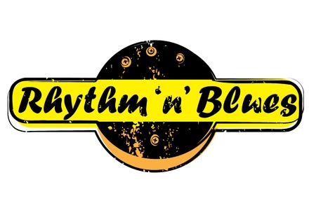 vj: parte retro musica bollo per un night club o bar, il ritmo e il sigillo blu con il design pop art