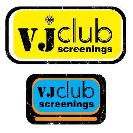 vj: parte retro bollo per un night club o bar, vj di club proiezioni sigillare con il design pop art