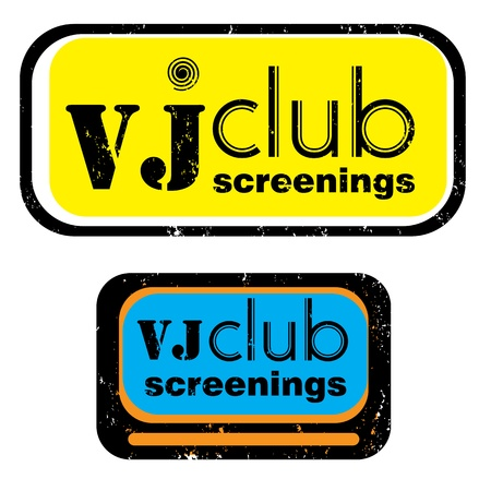 vj: retro party stamp for a night club or bar, vj club screenings seal with pop art design Illustration