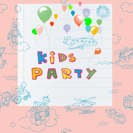 kids party invitation hand drawn card including a pattern with toys, doodles and scrapbook page over a pink background Vector