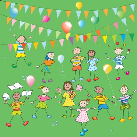 cartoons sweet: School kids party hand drawn composition with ballons and colored flags, doodles over greeen grass backgound Illustration