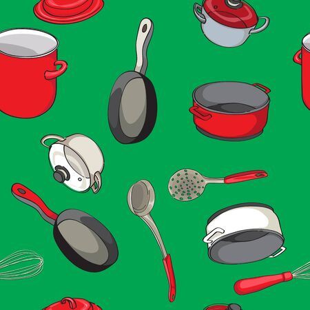 ladles: seampless pattern with pans and ladles, hand drawn objects over a green background