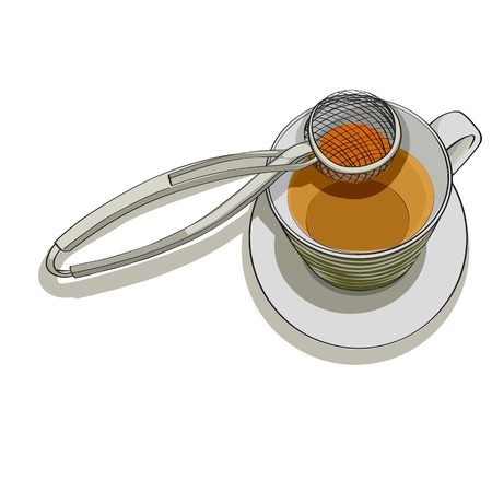 tea strainer: Hand drawn illustration of a strainer and cup of tea over white background Illustration