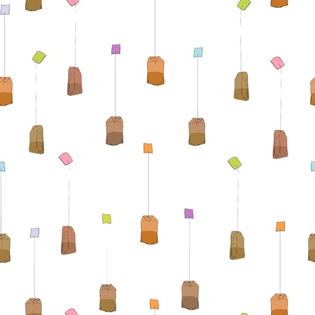 Simple tea bags pattern over transparent background
