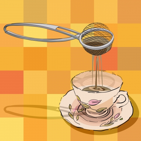 hand drawn illustration of a tea strainer and a cup over a tablecloth pattern with squares Vector
