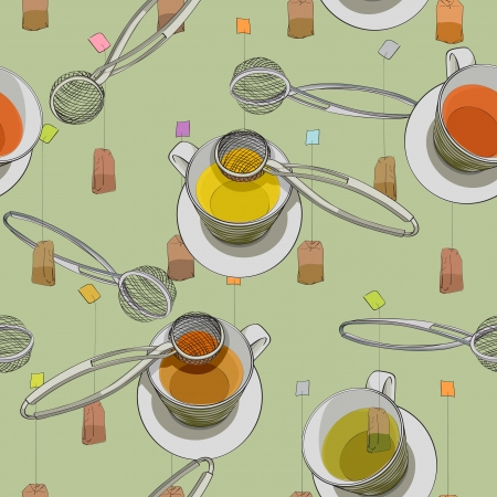 Tea time pattern, hand drawn cups, tea bags and strainers over a green background Vector