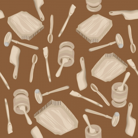 Wooden kitchen tools hand drawn pattern over a brown background Vector