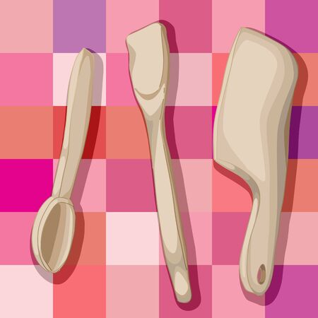 hand drawn illustration of a collection of wooden kitchen tools over a tablecloth pattern with squares Vector