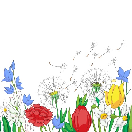 illustration of a spring garden, colored drawing over a white card Vector