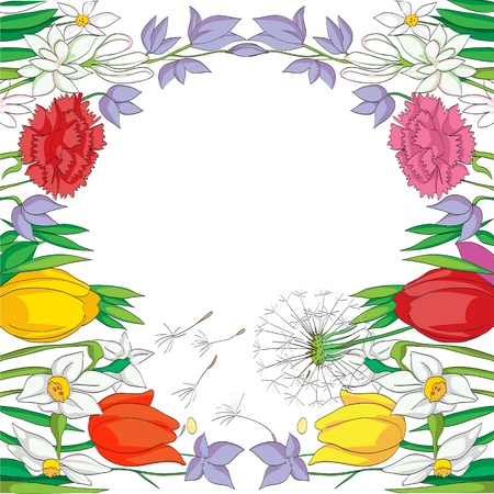 illustration of a spring card with a frame made of flowers, drawing  over a white background