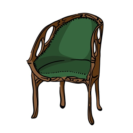 Hand drawn illustration of an 1900 style armchair, colored doodle isolated on white Vector